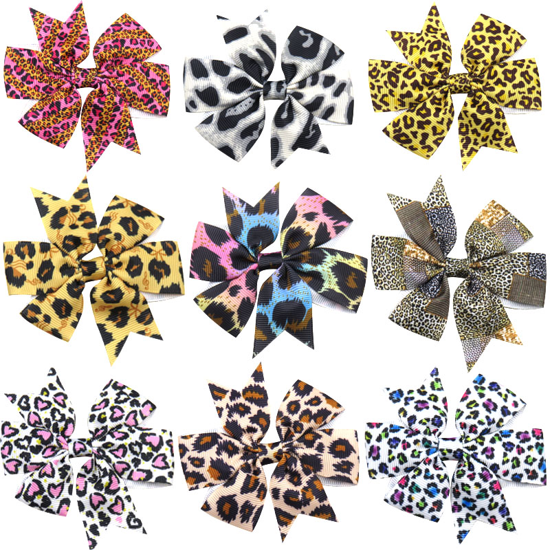 1PCS Novelty Lovely Leopard Elastic Hair Bands Girls Ribbon Clip Bows Girl Hair Tie Hairpin Handmade Fashion Hair Accessories