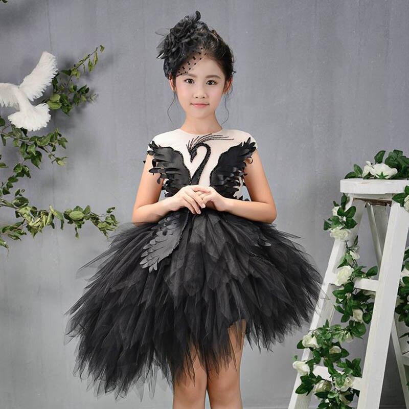 Filles Appliques asymétrique robes de mariée enfants soirée d'anniversaire fête princesse robe Communion cygne perles maille robe M86
