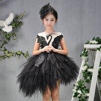 Girls Appliques Asymmetrical Wedding Dresses Kids Evening Birthday Party Princess Dress Communion Swan Beading Mesh Dress M86