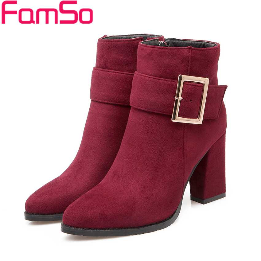 Plus Size 34 43 2016 New Fashion font b Women b font Boots Black red Buckle