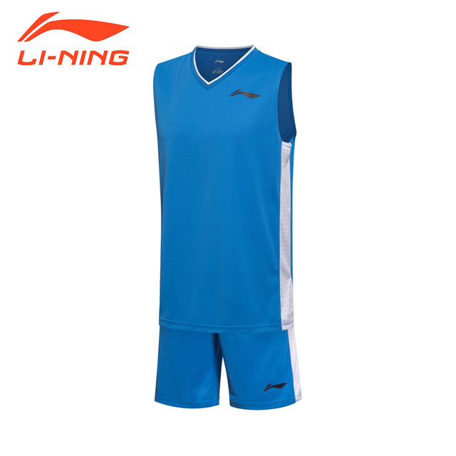 Li-Ning Men's Basketball Jersey Competition Uniforms Suits Breathable Sleeveless Sports Clothes Sets LiNing AATM003