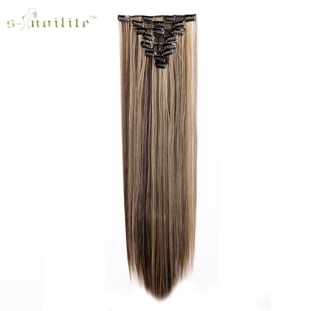 SNOILITE 18 Clips In Hair Extensions Straight Synthetic Hairpiece 24inch 170g False Styling 8pcs Set