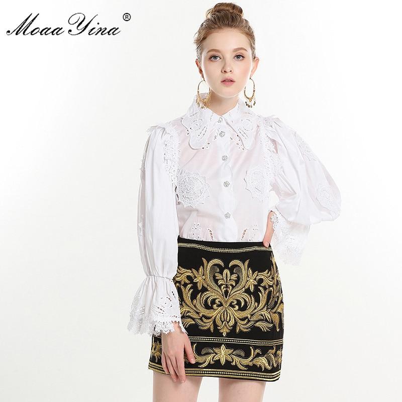 Blanc Blanche Applique Manches Bouton Mode Perles Cristal En La Dentelle Jupe De Sexy Flare Printemps Femmes Broderie Courte Moaayina Blouse Ensemble w0R7q86