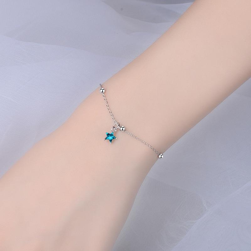 LUKENI Beautiful Crystal Blue Star Bracelets For Women Jewelry Charm 925 Sterling Silver Bracelets Girl Valentine 39 s Day Gift Hot in Charm Bracelets from Jewelry amp Accessories