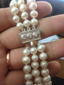 """Image 2 - First Lady Triple Strand real White Pearl Necklace 17 19"""""""