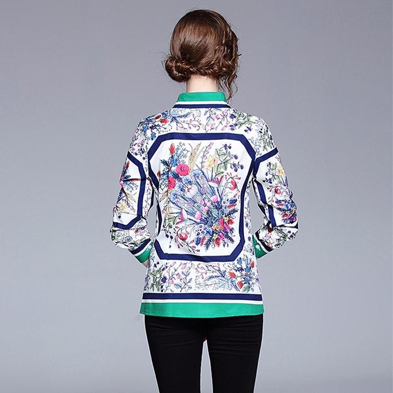 JKKFZY New Arrivals 2018 Women Summer Autumn Runway Fashion Designer Top shirt Elegant Flora Print Blouse Office Blouse top