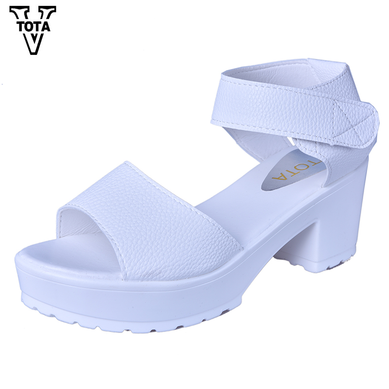 VTOTA Fashion Women Sandals Summer Shoes Wedges Open Toe Thick Heel Mujer Soft PU Women Platform Sandals High-Heeled Shoes Woman 2016 new summer pep toe woman sandals platform thick heel summer women shoes hook