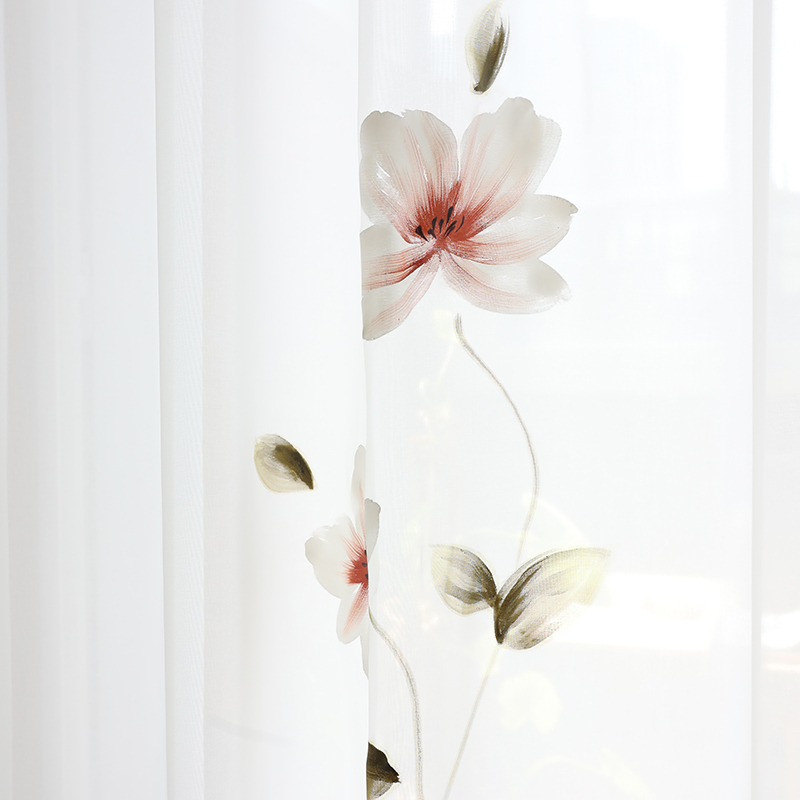 Chicity Hand Painted Lotus Tulle Curtains For Living Room Soft France Painting Style Tulle For Bedroom And Kitchen Customized
