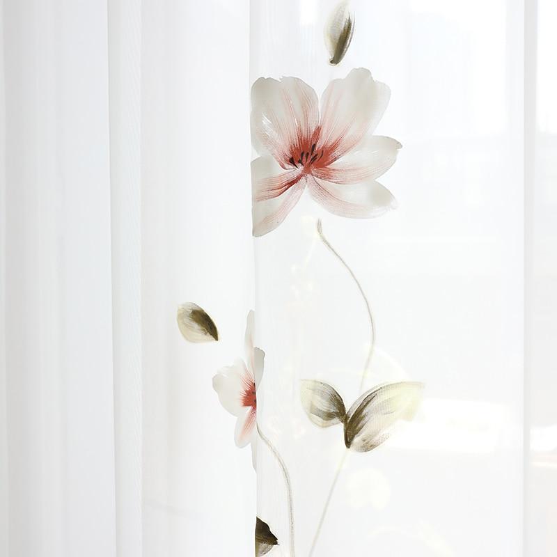 Chicity, ручная роспись, лотос, тюль, занавески для гостиной, мягкая Французская живопись, стиль, тюль для спальни и кухни, на заказ