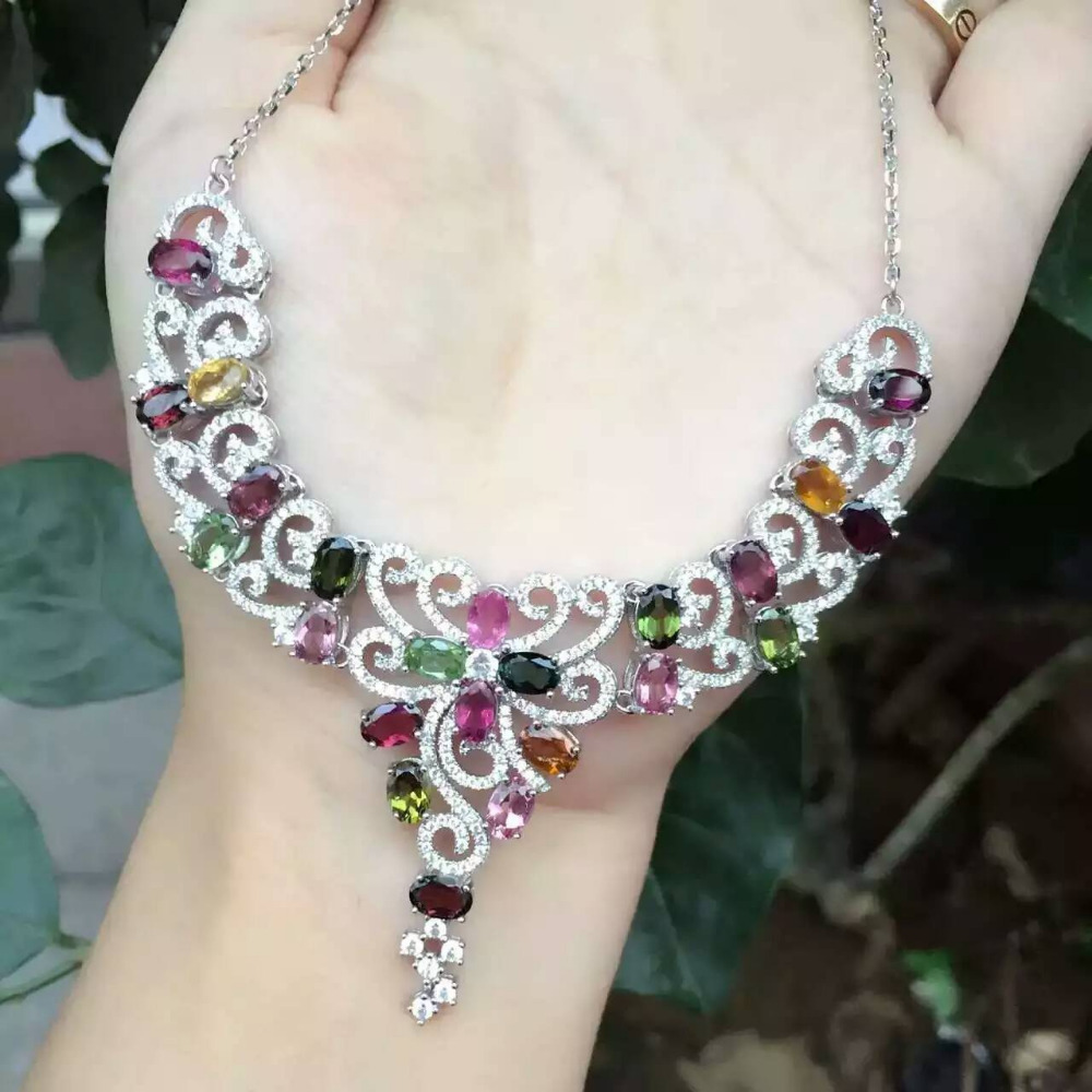 Natural multicolor tourmalin Necklace natural gemstone Pendant Necklace S925 silver trendy luxurious Flowers women party Jewelry
