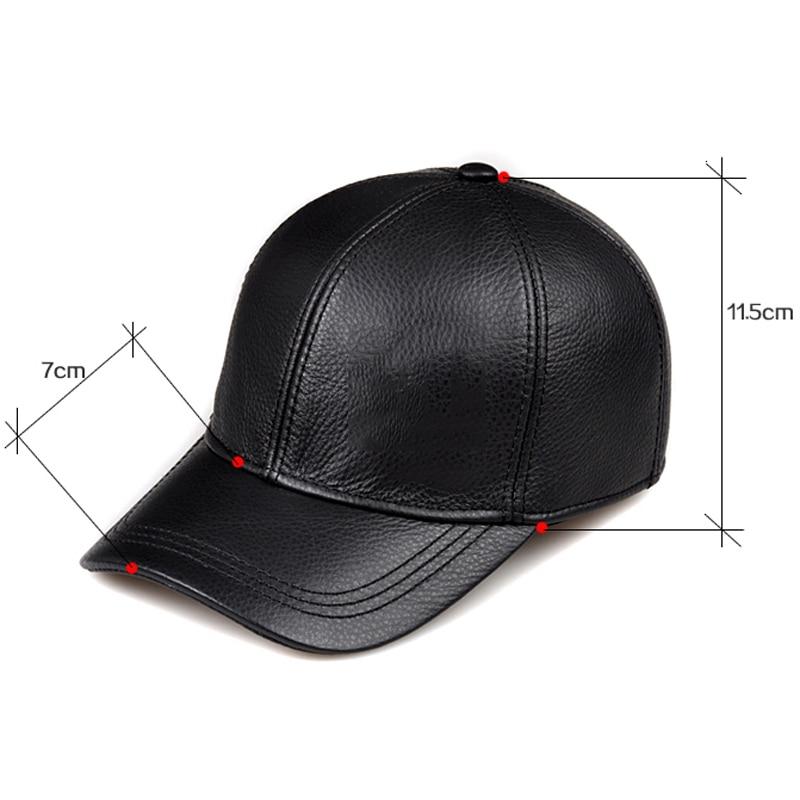 Wholesale Winter 2019 New Fashion Genuine Leather Baseball Caps 9 Panel Keep Warm Cowhide Hats Men