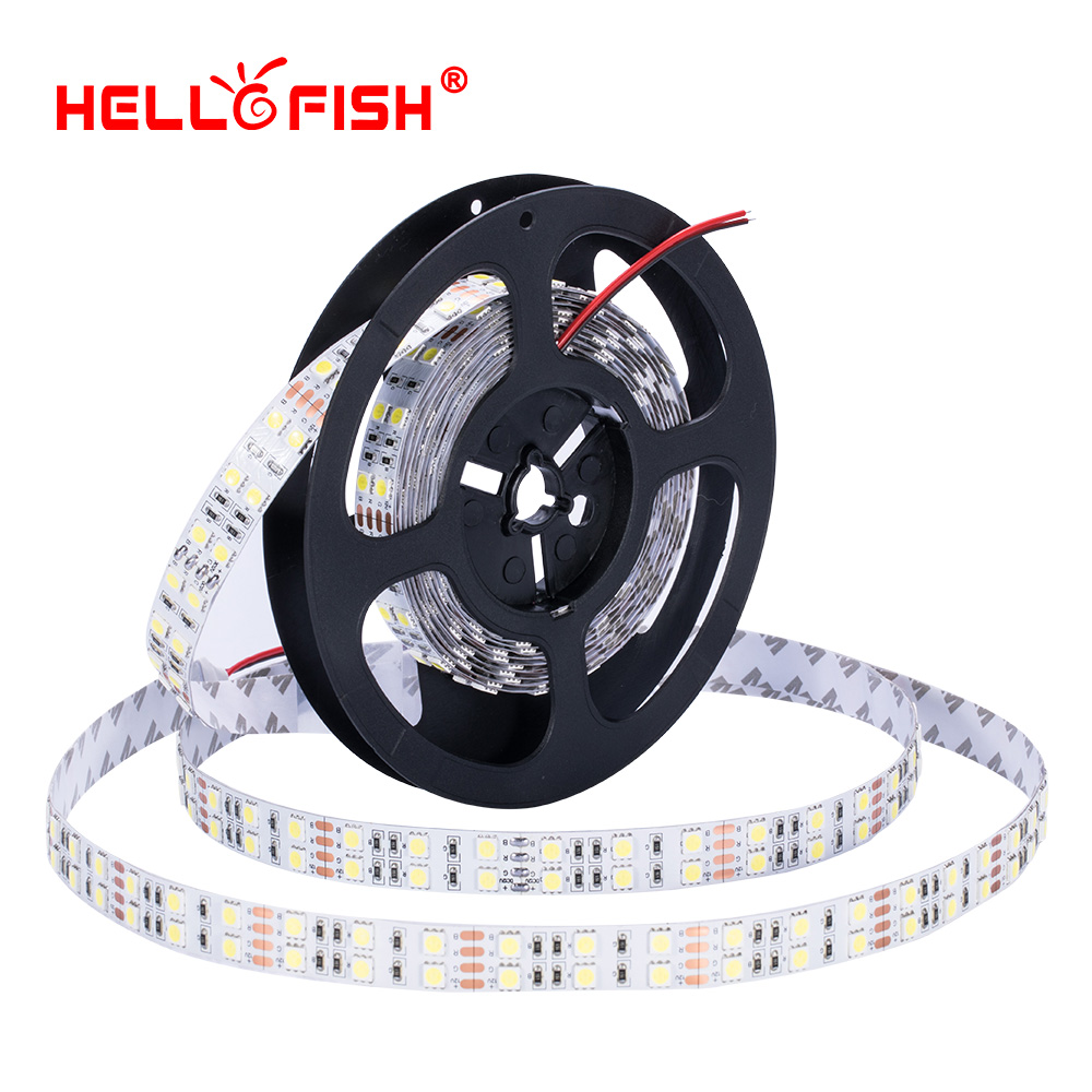 15mm Width 5m Double Row 5050 600 SMD High brightness RGB LED Strip 12V Flexible LED tape White Warm White Hello Fish ip67 waterproof dual row 144w 5800lm 6500k 600 x smd 5050 led white light strip 12v 5m
