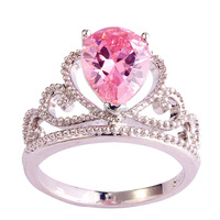Wholesale New Design Fashion Popular Pear Cut Pink Sapphire 925 Silver Ring Size 6 7 8 9 10 11 Sweet Women Jewelry Free Shipping