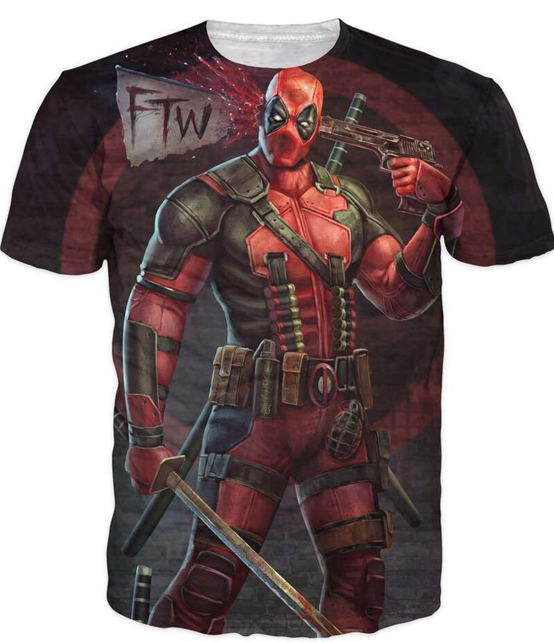 2016 New Arrive American Comic Badass Deadpool T-särk Tees Meeste Naised Cartoon Characters 3d t-särk Funny Casual tee särgid top