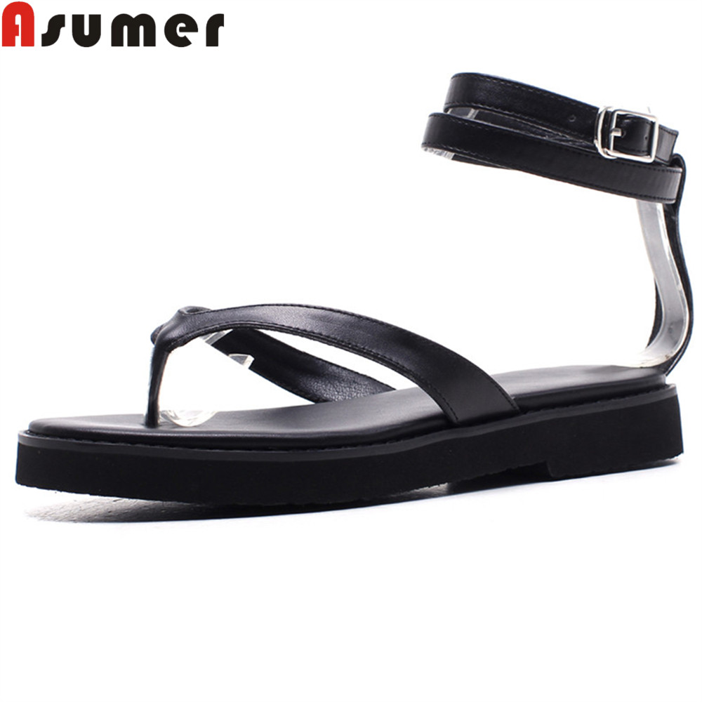 ASUMER black fashion summer ladies shoes buckle casual flat shoes woman simple comfortable women genuine leather sandals discount 2018 fashion leather casual flat shoes women sandals summer shoes flat hollow comfortable breathable size 34 44