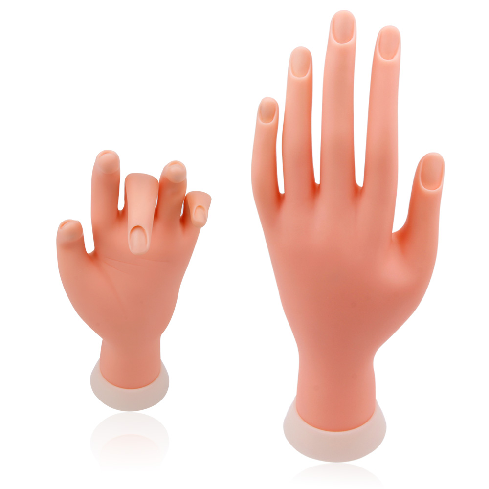 1Pcs New Practice Nail Art Left Hand Soft Display Training Model Hands Flexible Silicone Prosthetic Personal Salon Manicure Tool