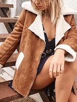 Women Winter Lapel Faux Shearling Lining Jacket Fashion Long Sleeve Patchwork Jacket