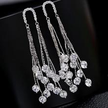 Everoyal Lady Vintage Silver 925 Girls Drop Earrings Female Luxury Austrian Rhinestones Long Tassel For Women Jewelry