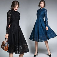 Women Clothing Europe Style 2018 New Spring Autumn Fashion Hollow Out Stand Lace Dress Vintage Flowers