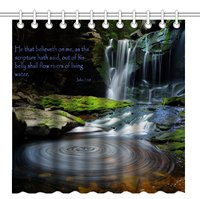 Shower Curtain,Bible Verse Scripture Quotes with Great Waterfall Scene Nature Landscape Background, Bathroom Bath Curtains