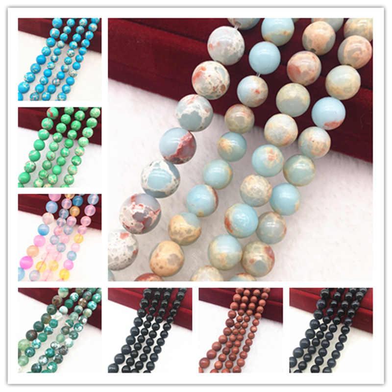 NEUE 6/8/10mm Natürliche Stein Lazuli Agat Dicke Lose Perlen Für DIY Machen Armband Schmuck Halskette #19