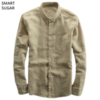 SMART SUGAR 2017 Spring New Men S Shirts Long Sleeve Casual Simple Pocket Cotton Linen Chinese