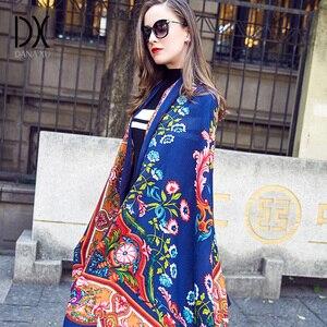Image 3 - 2019 Wol Vierkante Hoofd Sjaals Vrouwen Elegante Dame Carf En Warme Sjaal Lange Animal Print Stola Bandana Sjaal Hijab Strand deken