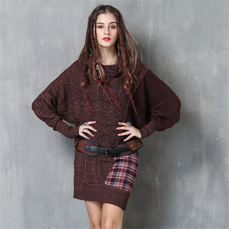 Autumn Winter Fashion Bat sleeves Loose Sweaters Dresses Women Casual Splice Vintage Wool Sweater Dress Knit Oversized Pullover