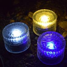 HobbyLane 1pcs Waterproof Solar Round Ice Flower Glass Lawn Lamp for Courtyard Garden Decoration Lighting