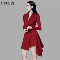 2019 Women Dress Blazers Irregulare One Button Slim A Line Blazer Long Notched Collar Solid Office Wear Red Black Formal Jacket