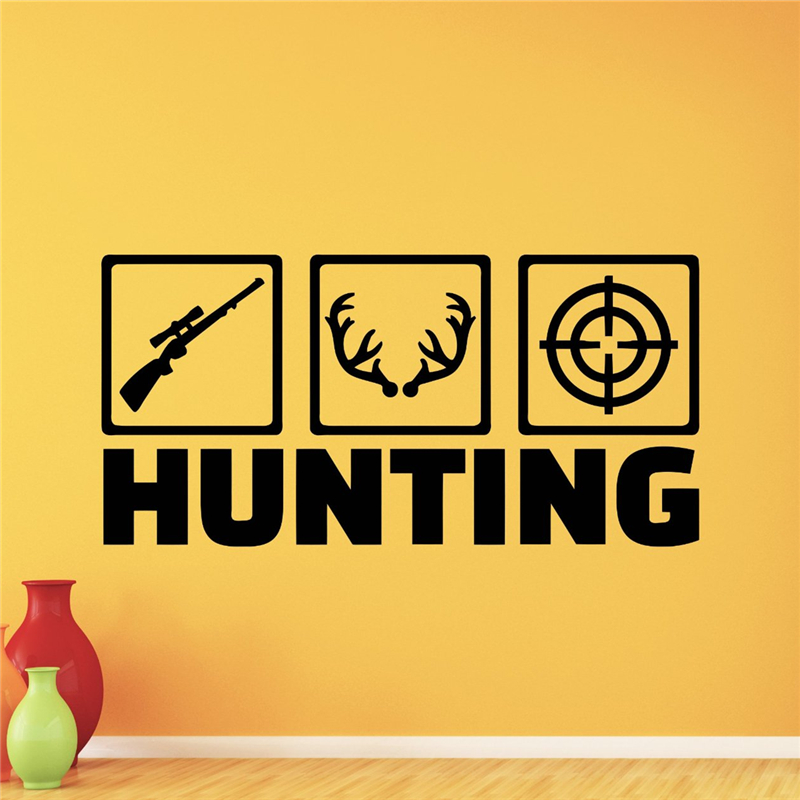 Deer Hunting Wall Decal Deer Hunt Hunter Shotgun Deer Wild Wall Sticker  Hunting Dog Vinyl Sticker Living Room Home Decor X395 In Wall Stickers From  Home ...