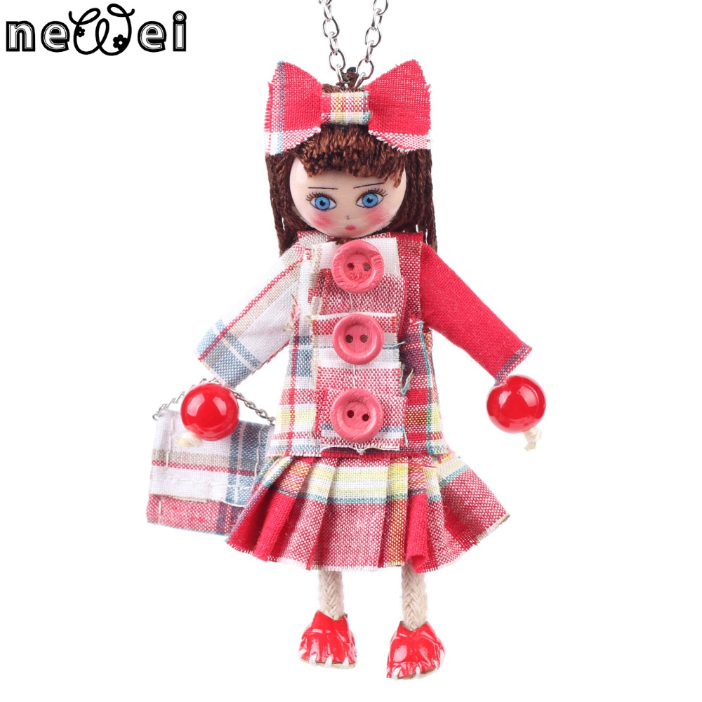 Newei Handmade Doll Necklaces Statement Cloth Long Chain Pendant 2016 New Spring Style Jewelry For Women Collares Accessories