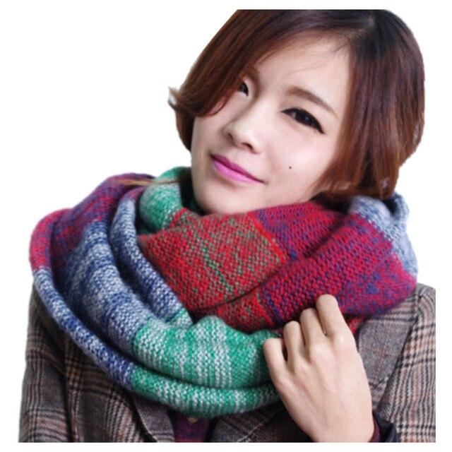 2015 мода шарф женщины-многоцветный мозаика зима теплая длинный шарф вязаный шерстяной обертывания сгущать платки