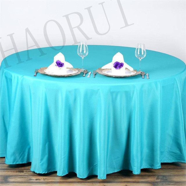10pcs Customize Table Polyester Cotton Fabric 108u0027u0027Round Turquoise Luxury  Dining Tablecloth Wedding Party