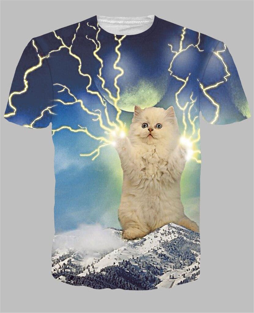 Alisister new style lightning cat t shirts 3d print cute
