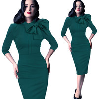 Women Elegant Office Lady Dress Bow Collar Knee Length Long Sleeve Dress Cotton Midi Bodycon Dresses Green Balck Women Dress