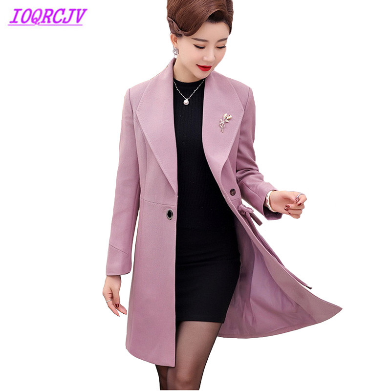 Middle aged female trench coat 2018 Spring autumn Plus size Windbreaker coat Women Medium length Slim top Outerwear IOQRCJV H250