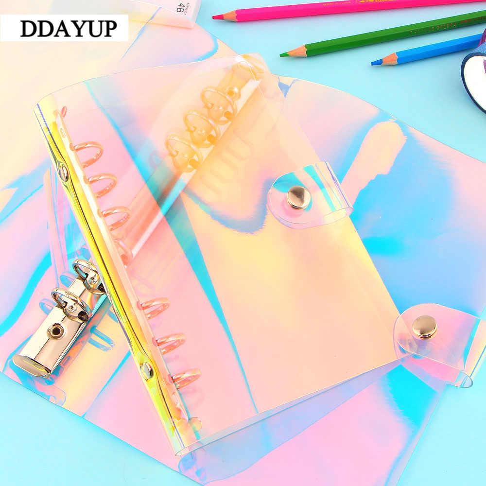 Créatif arc-en-ciel Laser Transparent carnet journal couverture paillettes feuilles mobiles carnet de notes planificateur Clip fournitures de bureau A5 A6 A7