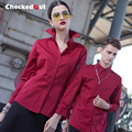Brands checkedout Autumn/winter Hotel Waiter Long Sleeved Uniforms overalls sleeved Shirt Hotel Catering Waiter SHIRT
