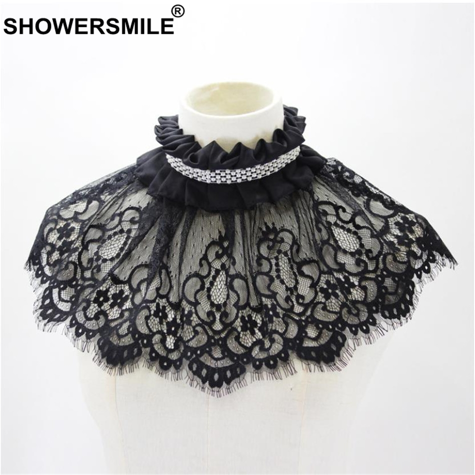 SHOWERSMILE Detachable Collars For Women Lace Flower Black Pearl Faux Collar Ladies Choker Party Ladies Brand Ruffle Collar