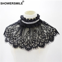 SHOWERSMILE Detachable Collars For Women Lace Flower Black Pearl Faux Collar Ladies Choker Party Ladies Brand Ruffle Collar stylish faux pearl flower lace necklace for women