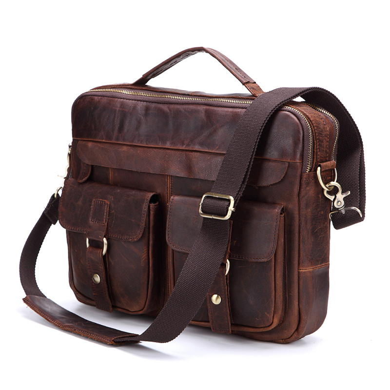 Nesitu تعزيز خمر جلد أصلي للرجال حقيبة حقيبة ساع حقيبة كتف محفظة ipad حقيبة ل A4 ورقة # M207-في حقائب جلدية من حقائب وأمتعة على  مجموعة 1