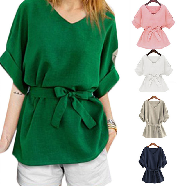 Vintage Summer Women Bow Sashes Linen Batwing V-neck T-Shirts Loose Casual Solid Shirt Tops