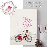 Funlife DIY Dandelion Finger Print Frameless Canvas Art Print Poster Wall Pictures For Home Decoration