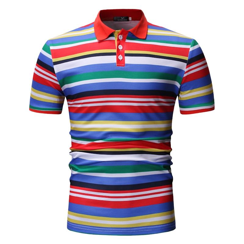 YASUGUOJI New 2019 Summer Short Sleeve   Polo   Shirt Men Fashion Striped Contrast Color Men   Polo   Shirt Casual   Polos   Para Hombre