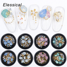 Elessical 1 Box Mixed Nail Art Decorations 3D Tip Drill Copper Nail Charm Opal Nail Opal Rhinestones Gems Beads Studs Gold Rivet цены