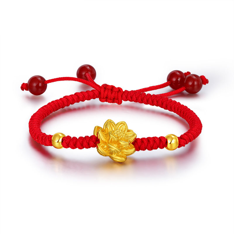 Fine Authentic 24k Yellow Gold Lotus Flower Bead Knitted Bracelet 16.5cm LengthFine Authentic 24k Yellow Gold Lotus Flower Bead Knitted Bracelet 16.5cm Length