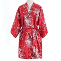 Top Selling Summer Women's Kimono Mini Robe Red Faux Silk Bath Gown Yukata Nightgown Sleepwear Pijama Mujer One Size Msj003