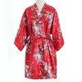 Top Venda Verão das Mulheres Kimono Mini Robe de Banho Vestido de Yukata Vermelho Faux Seda Camisola Sleepwear Pijama Mujer One Size Msj003