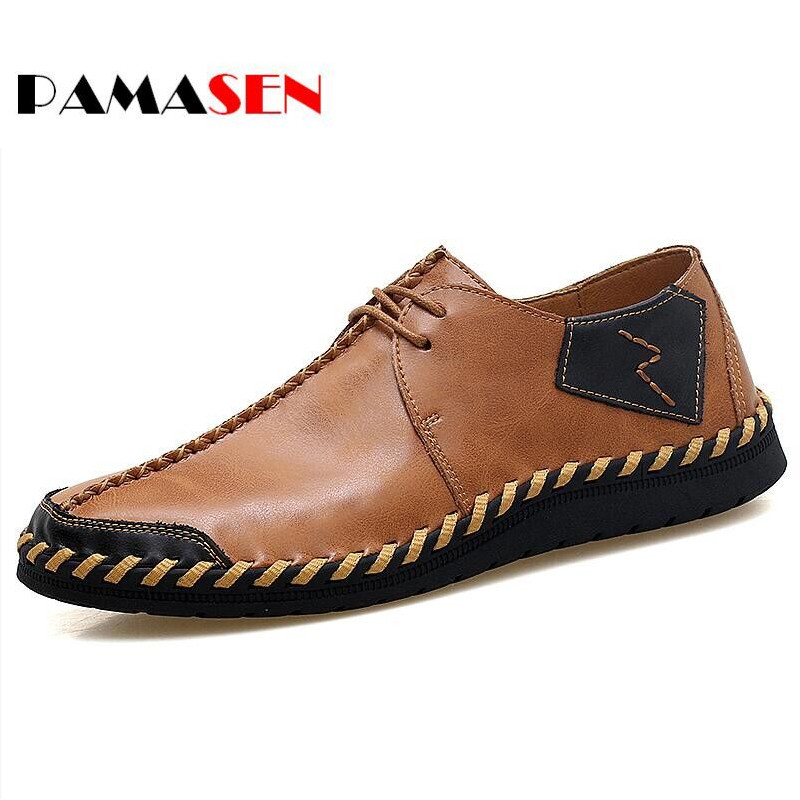 PAMASEN New Spring Autumn Lace-Up Mens Loafers Fashion Breathable Men Casual Genuine Leather Shoes Designers Moccasins Men Shoes spring autumn fashion men high top shoes genuine leather breathable casual shoes male loafers youth sneakers flats 3a